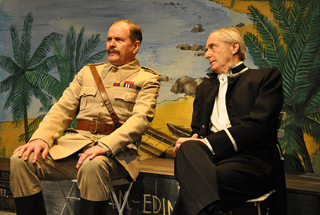 Actors Stuart McGugan (Hector MacDonald) and James Woolley (the Governor of Ceylon) seated as if watching cricket in a scene from David Gooderson's play 'So Great A Crime'. Photo: Alex Marker.