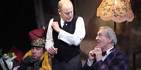 Actors Leo Conville (Toad), Jeffrey Perry (Mole), Timothy Davies (Badger) in David Gooderson's play 'The Killing of Mr. Toad'. Photo: Ruth Hall